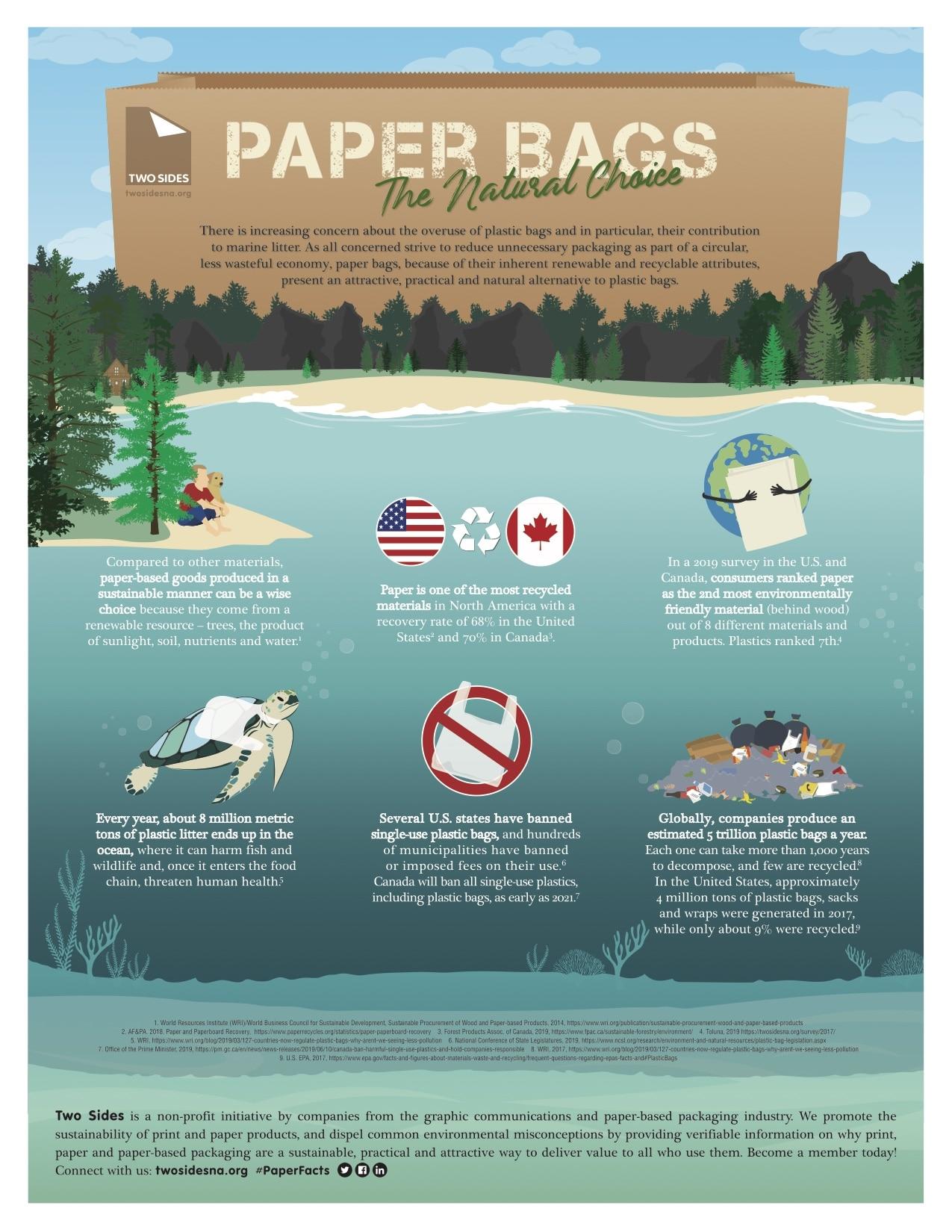 Paper versus plastic infographic